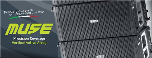 Muse, nueva línea de line arrays de FBT que redefine el estado del arte en términos de potencia, tamaño, bajo peso, flexibilidad, facilidad de uso y economía.